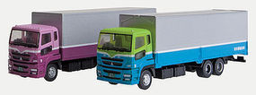 Tomy 2 Semi Trucks (Plum & Mauve, Teal & Green) N Scale Model Railroad Vehicle #256953