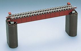 Tomy Deck Girder Bridge w/2 Piers (Single Fine Track) Red N Scale Model Railroad Bridge #3028