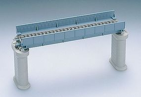 Tomy Through Girder Bridge w/2 Piers (Single Fine Track) Blue N Scale Model Railroad Bridge #3029