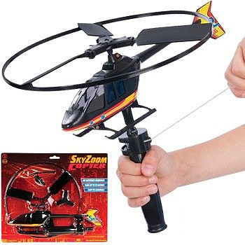 Toysmith Sky High Zoom Helicopter with Rip-Cord Action Launcher -- Flying Toy -- #12657