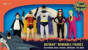 Toysmith Batman Series 5 Bendable Super Heroes Toy Figure Set #3916