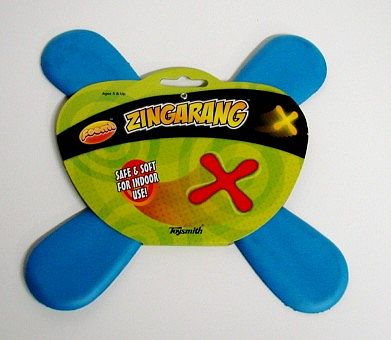 Toysmith Foam Roomarang 4-Bladed Indoor Boomerang (10.5'' Span) -- Flying Toy -- #74110