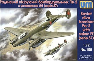 Unimodels Petlyakov Pe2 Soviet Dive Bomber w/FT MG Turret Plastic Model Airplane Kit 1/72 #105
