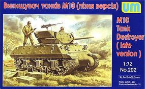 Unimodels M10 Late Version Tank Destroyer Plastic Model Tank Kit 1/72 Scale #202
