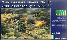 Unimodels ZIS3 76mm Soviet Gun Plastic Model Weapon Kit 1/72 Scale #208
