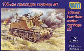 Unimodels M7 105mm Howitzer Motor Carriage Plastic Model Tank Kit 1/72 Scale #213
