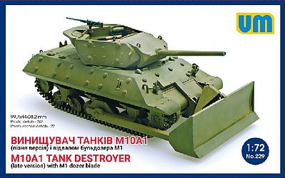 Unimodels M10A1 (Late) Tank Destroyer with M1 Dozer Blade Plastic Model Tank Kit 1/72 Scale #229