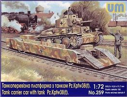 Unimodels WWII Tank Carrier Railcar w/PzKpfw 38(t) Tank Plastic Model Military Vehicle Kit 1/72 #259