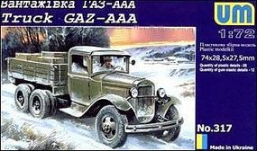Unimodels GAZ-AAA WWII Russian Truck Plastic Model Military Truck Kit 1/72 Scale #317
