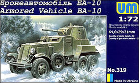Unimodels BA10 Russian Armored Vehicle Plastic Model Military Truck Kit 1/72 Scale #319