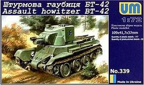 Unimodels BT42 Finnish Army Assault Tank w/114mm Howitzer Mk II Gun Plastic Model Tank Kit 1/72 #339