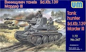 Unimodels Marder III SdKfz 139 WWII German Tank Hunter Plastic Model Tank Kit 1/72 #347