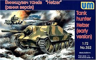 Unimodels Hetzer Early WWII German Hunter Tank w/Self-Propelled Gun Plastic Model Tank Kit 1/72 #352