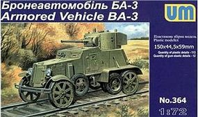 Unimodels BA3 Soviet Armored Vehicle Plastic Model Military Vehicle Kit 1/72 Scale #364