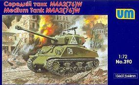 Unimodels M4A2(76)W US Medium Tank Plastic Model Tank Kit 1/72 Scale #390