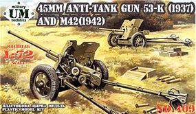 Unimodels 45mm Anti-Tank Guns- M42 Mod 1942 & 53K Mod 1937 Plastic Model Weapon Kit 1/72 Scale #409