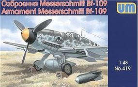 Unimodels Weapons & Equipment Set for Messerschmitt Bf109 Aircraft Plastic Model Airplane 1/48 #419