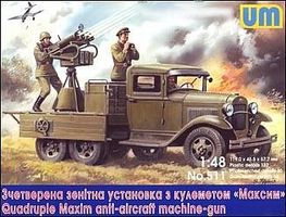 Unimodels Quad Maxim Anti-Aircraft MG on GAZ-AA Chassis Plastic Model Military Truck Kit 1/48 #511