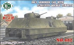 Unimodels OB3 Armored Railway Car Plastic Model Military Vehicle Kit 1/72 Scale #612
