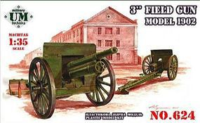 Unimodels 3 Inch Field Gun Model 1902 Plastic Model Weapon Kit 1/35 Scale #624