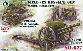 Unimodels 3 Inch ex Russian Model Late 1902 Field Gun Plastic Model Weapon Kit 1/35 Scale #627