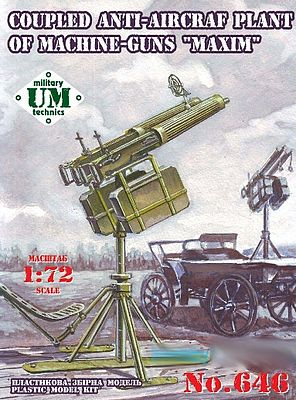 Unimodels Maxium Coupled Anti-Aircraft Plant of Machine Guns -- Plastic Model Weapon Kit -- 1/72 -- #646