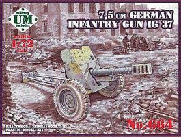 Unimodels IG37 75mm German Infantry Gun (New Tool) Plastic Model Military Vehicle Kit 1/72 Scale #664