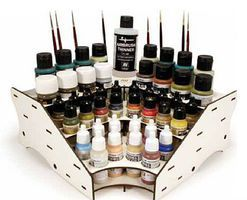 Vallejo Corner Module Paint Stand (Holds 44 Paint Bottles, Large Thinner & Brushes)