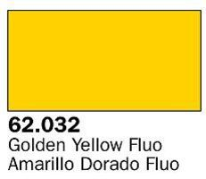 Vallejo Fluorescent Golden Yellow Premium (60ml Bottle) Hobby and Model Acrylic Paint #62032