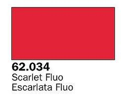 Vallejo Fluorescent Scarlet Premium (60ml Bottle) Hobby and Model Acrylic Paint #62034