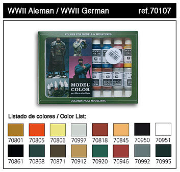 Vallejo 17ml Bottle WWII German Model Color Paint Set (16 Colors) Hobby and Model Paint Set #70107