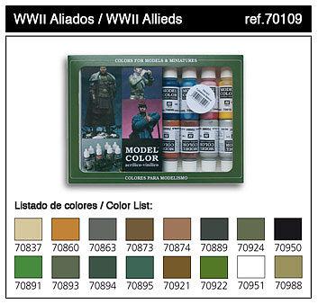 17ml Bottle WWII Allied Model Color Paint Set (16 Colors)