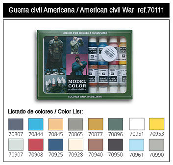 Vallejo 17ml Bottle American Civil War Model Color Paint Set (16 Colors) Hobby and Model Paint #70111