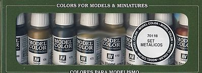Vallejo 17ml Bottle Metallics Model Color Paint Set (8 Colors) Hobby and Model Paint Set #70118