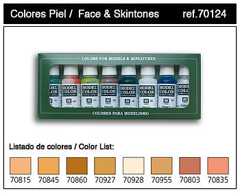 Vallejo Acrylic Paints Face & Skin Tones Model Color Paint Set (8 Colors) -- Hobby and Model Paints -- #70124