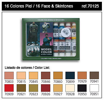 Vallejo Face & Skin Tones Model Color Paint Set (16 Colors) Hobby and Model Paints #70125