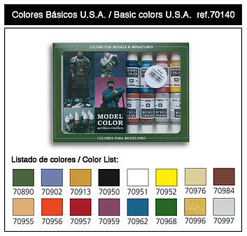 Vallejo 17ml Bottle Basic USA Model Color Paint Set (16 Colors) Hobby and Model Paint Set #70140