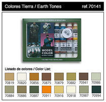 Vallejo 17ml Bottle Earth Tones Model Color Paint Set (16 Colors) Hobby and Model Paint Set #70141