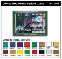 Vallejo 17ml Bottle Medieval Model Color Paint Set (16 Colors) Hobby and Model Paint Set #70142