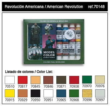 Vallejo American Revolution Model Color Paint Set (16 Colors) Hobby and Model Paint Set #70148