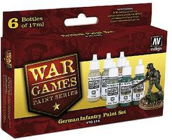 Vallejo German Infantry WWII War Games Paint Set (6 Colors) Hobby and Model Paint Set #70154