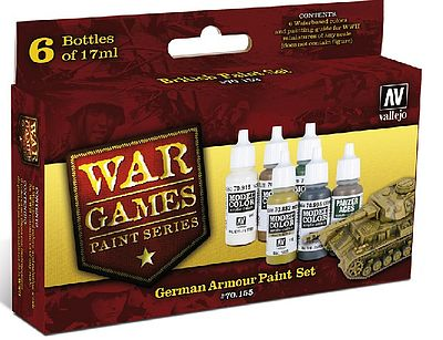 Vallejo German Armor WWII War Games Paint Set (6 Colors) Hobby and Model Paint Set #70155