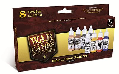 Vallejo Infantry Basic WWII War Games Paint Set (8 Colors) Hobby and Model Paint Set #70156