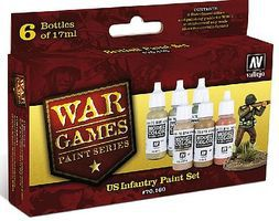 Vallejo US Army WWII War Games Paint Set (6 Colors) Hobby and Model Paint Set #70160