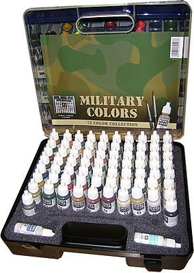 Vallejo Acrylic Paints Military Paint Set/Plastic Storage Case (72 Colors & Brushes) -- Hobby and Model Paint Set -- #70173