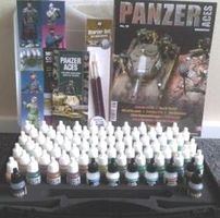 Panzer Aces Paint Set/Plastic Storage Case (72 Colors & Brushes) Hobby and Model Paint #70174