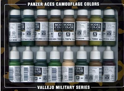 Vallejo Camouflage Panzer Aces Paint Set (16 Colors) Hobby and Model Paint Set #70179