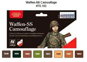 Vallejo Waffen SS Camouflage Model Color Paint Set (8 Colors) Hobby and Model Paint #70180