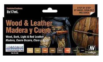 Vallejo WWII Wood/Leather Model Paint Set (8 Colors) Hobby and Model Paint Set #70182
