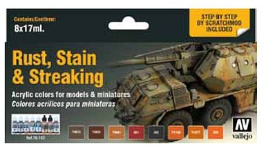 Vallejo Rust, Stain & Streaking Model Color Paint Set (8 Colors) Hobby and Model Paint Set #70183